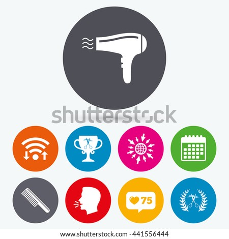 Wifi, like counter and calendar icons. Hairdresser icons. Scissors cut hair symbol. Comb hair with hairdryer symbol. Barbershop laurel wreath winner award. Human talk, go to web. - stock photo
