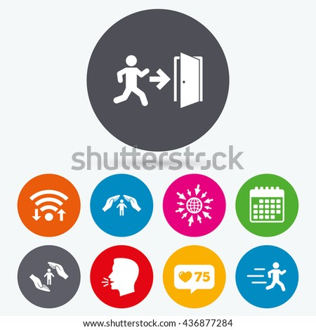 Wifi, like counter and calendar icons. Life insurance hands protection icon. Human running symbol. Emergency exit with arrow sign. Human talk, go to web. - stock photo