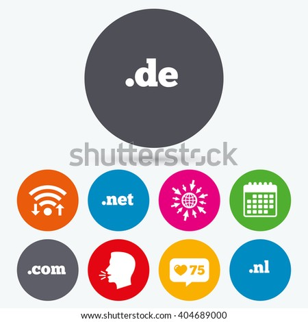 Wifi, like counter and calendar icons. Top-level internet domain icons. De, Com, Net and Nl symbols. Unique national DNS names. Human talk, go to web. - stock photo