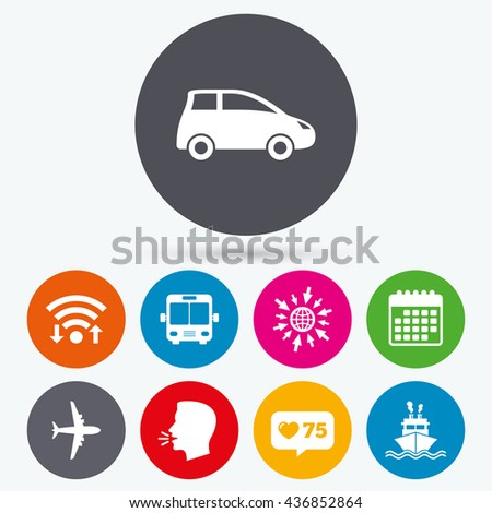 Wifi, like counter and calendar icons. Transport icons. Car, Airplane, Public bus and Ship signs. Shipping delivery symbol. Air mail delivery sign. Human talk, go to web. - stock photo