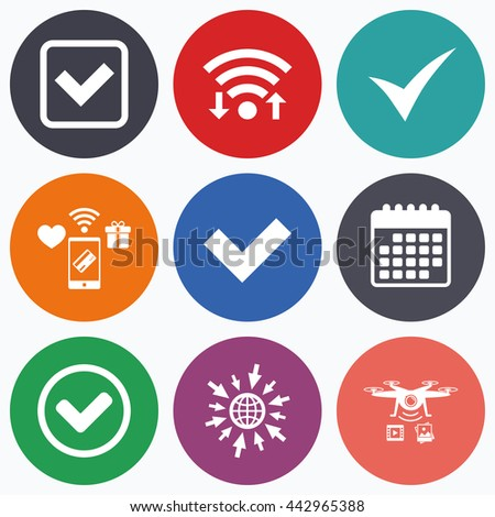 Wifi, mobile payments and drones icons. Check icons. Checkbox confirm circle sign symbols. Calendar symbol. - stock photo
