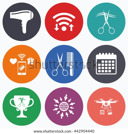 Wifi, mobile payments and drones icons. Hairdresser icons. Scissors cut hair symbol. Comb hair with hairdryer symbol. Barbershop winner award cup. Calendar symbol. - stock photo