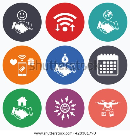 Wifi, mobile payments and drones icons. Handshake icons. World, Smile happy face and house building symbol. Dollar cash money bag. Amicable agreement. Calendar symbol. - stock photo