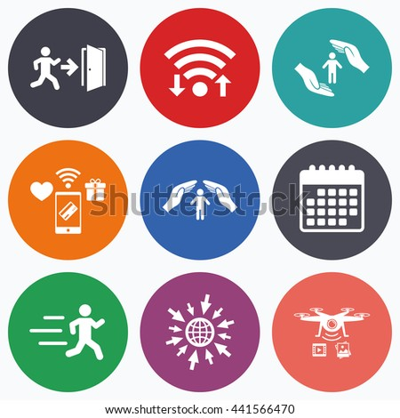 Wifi, mobile payments and drones icons. Life insurance hands protection icon. Human running symbol. Emergency exit with arrow sign. Calendar symbol. - stock photo