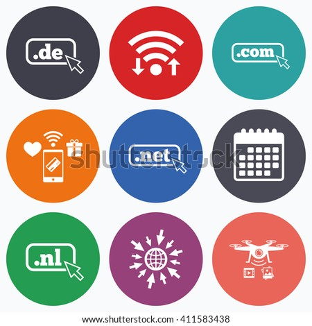 Wifi, mobile payments and drones icons. Top-level internet domain icons. De, Com, Net and Nl symbols with cursor pointer. Unique national DNS names. Calendar symbol. - stock photo