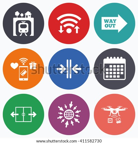 Wifi, mobile payments and drones icons. Underground metro train icon. Automatic door symbol. Way out arrow sign. Calendar symbol. - stock photo