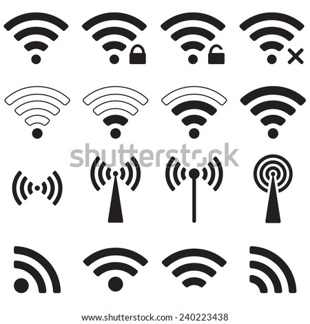 Wifi or wireless icon set for remote access. - stock photo