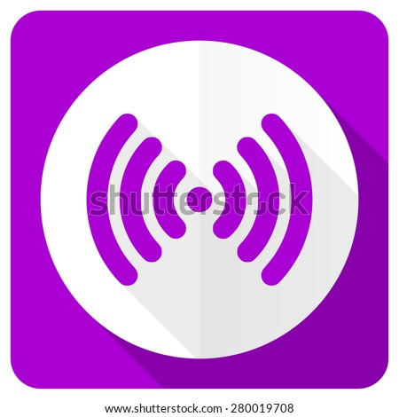 wifi pink flat icon wireless network sign  - stock photo