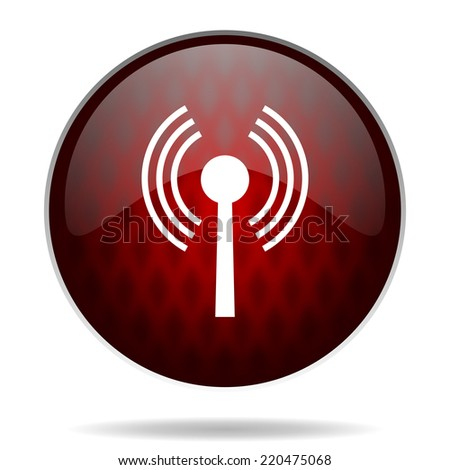 wifi red glossy web icon on white background  - stock photo