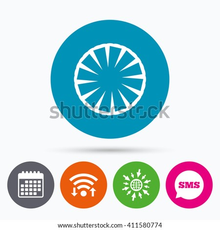 Wifi, Sms and calendar icons. Pineapple slice sign icon. Ananas exotic tropical fruit symbol. Go to web globe. - stock photo