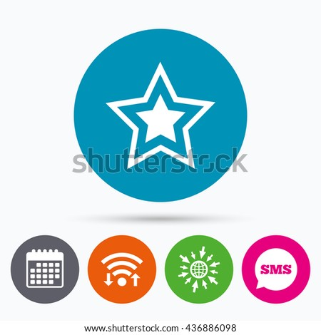 Wifi, Sms and calendar icons. Star sign icon. Favorite button. Navigation symbol. Go to web globe. - stock photo