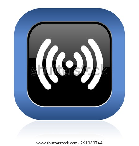 wifi square glossy icon wireless network sign  - stock photo