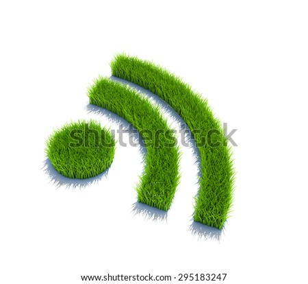 Wifi symbol from grass. 3d render isolated on white.