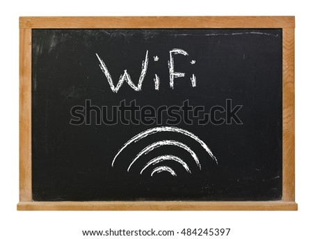 WiFi written in white chalk on a black chalkboard isolated on white