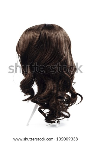 wig brown hair isolated - stock photo