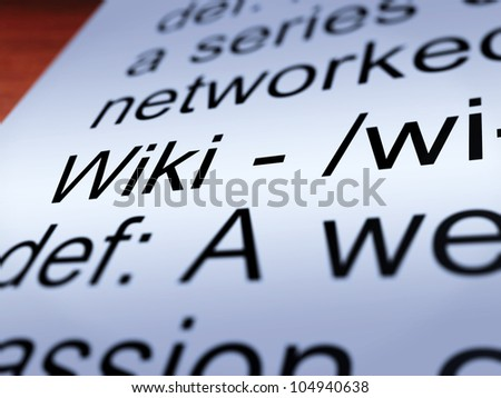 Wiki Definition Closeup Shows Online Collaborative Community Encyclopedia - stock photo