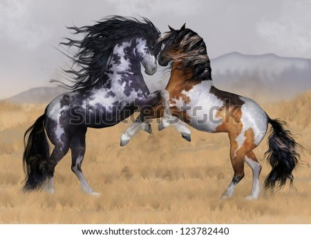 Wild And Free Two Stallions Fantasy Horse Art Greeting Card - stock photo