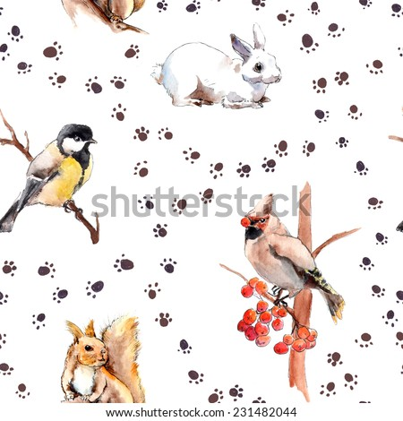 Wild animal and birds winter pattern with foot print. Forest animals: rabbit, squirrel, tit bird. Repeated watercolour sketch - stock photo