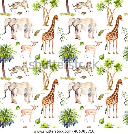 Wild animals (giraffe, elephant, cheetah, antelope) in savannah with palm trees. Repeating background. Watercolor - stock photo