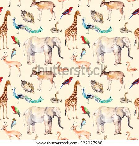 Wild animals - zoo, wild life. Seamless pattern. Watercolor - stock photo