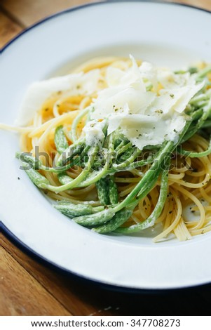 wild asparagus pasta with parmesan