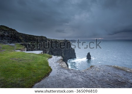 Wild Atlantic Weather On The Cliffs Of Moher - stock photo