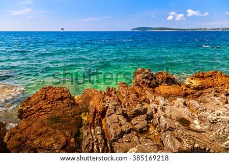Wild beach in Pula, Croatia, Europe - stock photo