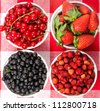 Wild berries in bowls - blueberry, redcurrant, strawberry - stock photo