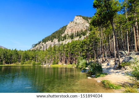 Wild Bill Lake Picnic Ground is located in the Custer National Forest in southwest Montana.  A short drive from Red Lodge and near the Beartooth Highway. - stock photo