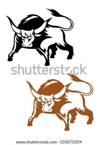 Wild buffalo bull in cartoon style for mascot and emblem design, such logo. Vector version also available in gallery - stock photo