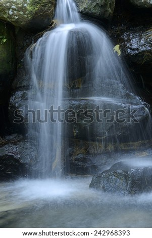 Wild cascade between stones in  forest landscape