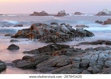 Wild coastline near Monterey and Big Sur, California, USA - stock photo