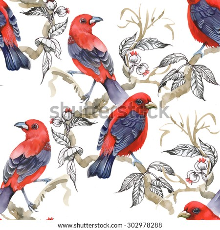 Wild exotic birds on twig and wildflowers watercolor seamless pattern on white background - stock photo