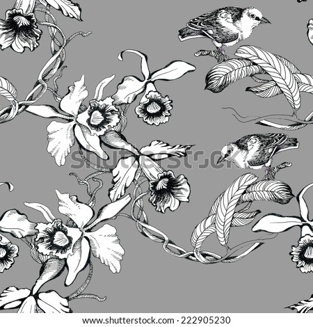 Wild exotic birds on twig seamless pattern on gray background