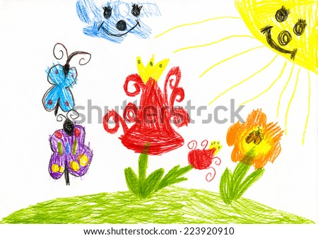 wild flower and butterfly on sunny meadow. child drawing - stock photo