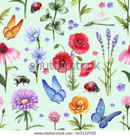 Wild flowers and insect illustrations. Watercolor summer pattern - stock photo