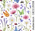 Wild flowers and insects illustration. Watercolor summer pattern - stock photo