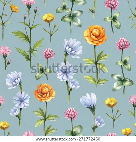 Wild flowers illustration. Watercolor seamless pattern - stock photo