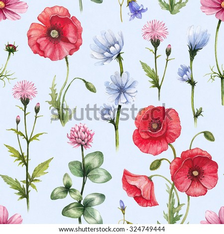 Wild flowers illustrations. Watercolor seamless pattern - stock photo