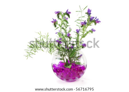 Wild flowers in a vase with colorful crystal flowers isolated on white background