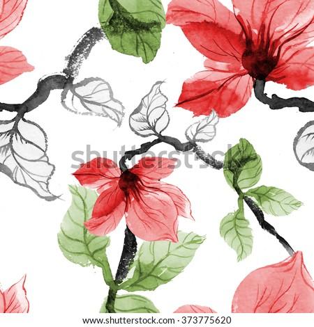 Wild flowers seamless pattern on white background - stock photo