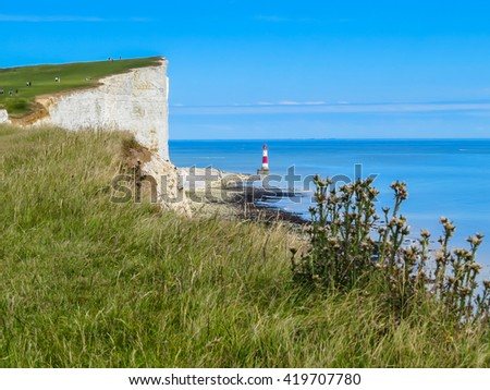 Wild flowers, white chalk cliffs and Beachy Head Lighthouse. Eastbourne, East Sussex, England. - stock photo