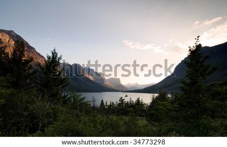 Wild goose island. Glacier National Park - stock photo