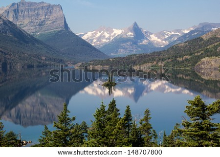 Wild Goose Island in Glacier National Park from Going to the Sun Road Montana at overlook - stock photo