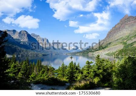 Wild Goose Island, St. Marys Lake, Glacier National Park - stock photo