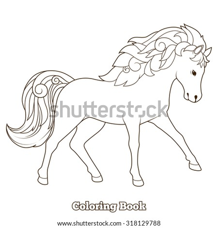 Wild horse coloring book educational game raster version, coloring book, educational material, horse, wild, animal, cartoon
