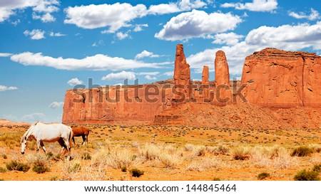 Wild horses in Monument Valley, Utah, USA - stock photo