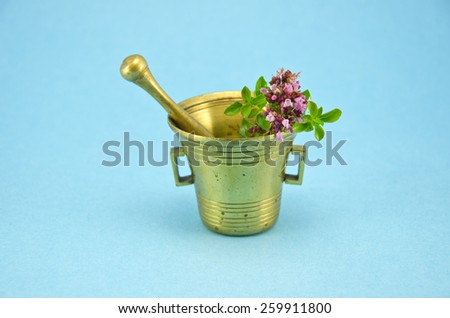 wild marjoram oregano herbs in old brass mortar on blue background - stock photo