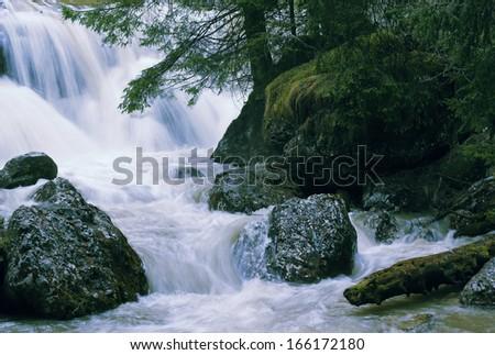 Wild mountain river - stock photo
