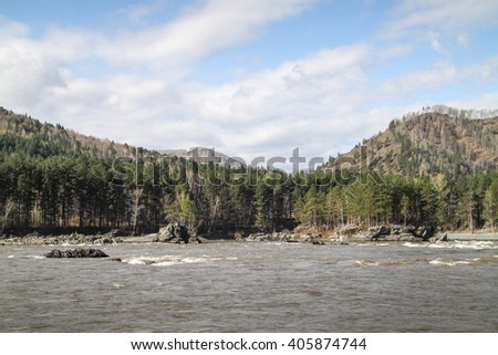 wild mountain river in Altai Krai - stock photo